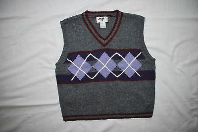 Boys Ny Wool Knit Gray Multi Color Geometric Print V-Neck Vest L