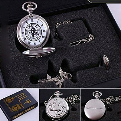Generic Fullmetal Alchemist Anime Pocket Watch Necklace Ring New