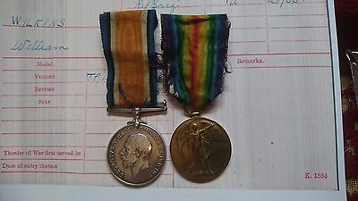 Ww1 British War Medal & Victory Medal/badges 22Nd Bn Rifle Brigade Wilkins