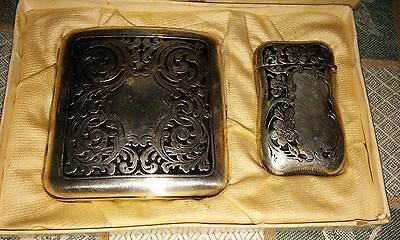 German Silver Art Nouveau Era Cigarette Case and Vesta ~ Match Safe Case Set