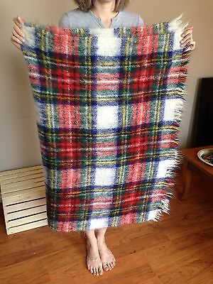 Vintage Multicolour Tartan Mohair And Wool Rug Throw Blanket Made In Scotland