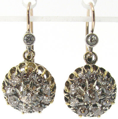 Diamond cluster drop dangle earrings vintage Victorian old cut 1.36ct I SI1 good