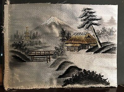 Antique Japanese Silk Hand Embroidery Needlework Mount Fuji And Landscape