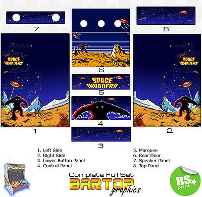 Space Invader Full/Half Sets Arcade Artwork Stickers Graphics / Laminated