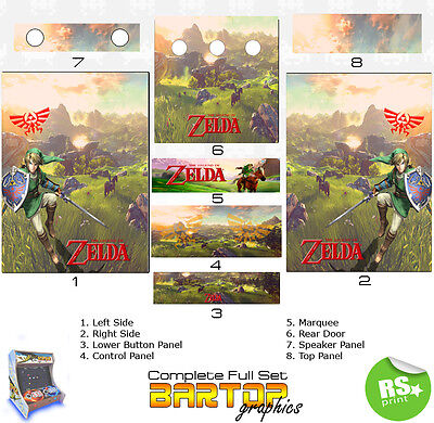 Zelda Full/Half Sets Arcade Artwork Stickers Graphics / Laminated All Sizes