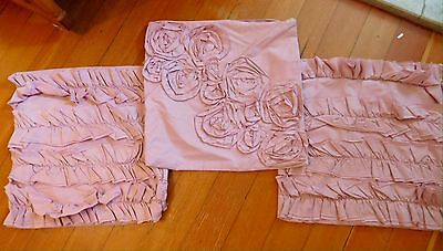 "Pottery Barn Teen kids Pillow Cover  Pink Dusty Rose 16"" square set of 3 Ruffled"