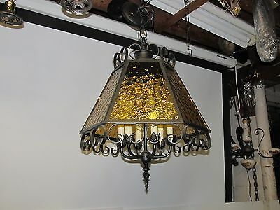 50's Perfect Amber Stained Glass Chandeliers Wrought Iron Lrg 6 Sides 22Hx17Wa-1
