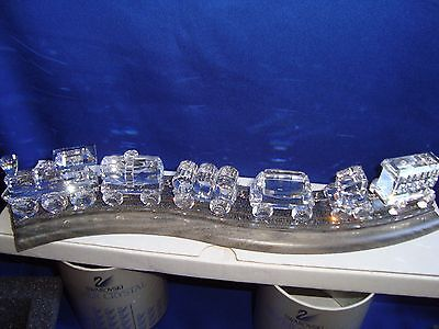 Swarovski Crystal Train Set complete with track. Signed by artist! 7 pieces.