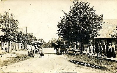 Rare Rppc Washago  Ontario Photo Postcard Main Street People Buildings 1911