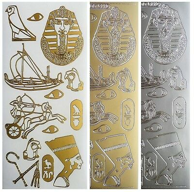 EGYPT Peel Off Stickers Nefertari Tutankhamen Hieroglyphics Gold Silver Design 2