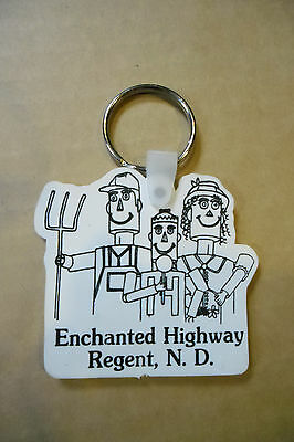 Enchanted Highway Keychain Regent, ND (The Tin Family) Black & White