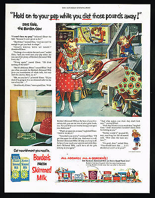 1954 Borden's Skimmed  Milk Elise Elmer Cow Exercise Diet Vintage Print Ad