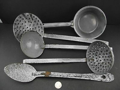 Collection Of Agate   Enamelware  L&g Nickle Steel Ware  Spoons Ladles Etc