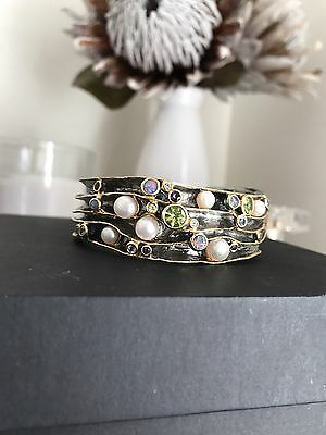 Sterling Silver Cuff Bangle w 18k Gold, Pearls, Opals, Peridot & Amethyst