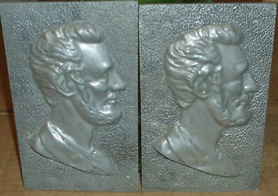 Vintage Abraham Lincoln Profile Cast In Solid Aluminum Times Two! Estate Find!