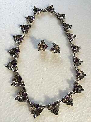 Vintage Mexican Mexico Sterling Silver Amethyst Necklace And Earrings