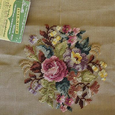 Vintage Bucilla Needlepoint Pre-worked Canvas Floral Rose 29762/3 Seat Cover NOS