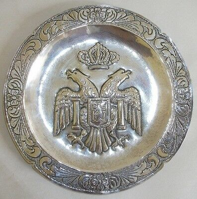 Elaborate Welsch 900 Silver Double Headed Eagle Armorial Crest Plate.