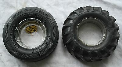 2 Vintage Tire Ashtrays General Dual 90 & Firestone Gum Dipped Tractor