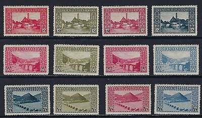 1912 Bosnia & Herzegovina Scott 62-64 (Mi. 61PII-63PII) 12 proofs diff colors MH