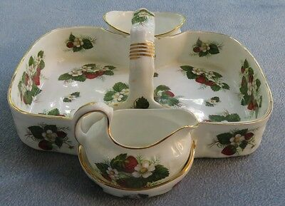 Hammersley Bone China Strawberry Ripe 3 Part Basket Creamer Sugar Bowl England