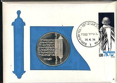 1974 Israel 10 Lirot Silver Gem Bu/unc Stamped Card 99 Company Fdc Coin Cover
