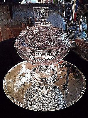 """Vintage EAPG  Pressed Glass Compote with Fitchy Cross 11"""" H X 9"""" wide"""