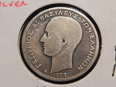 Greece Silver Drachma 1873 A decent circulated grade