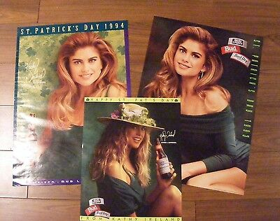 Lot 3 Vintage 1990's Budweiser Bud Light Beer Kathy Ireland St Patty Day Posters