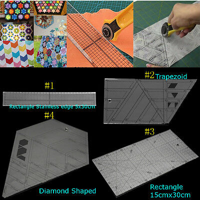 DIY Acrylic Rectangle Trapezoid Rectangle Diamond Shaped Sewing Patchwork Ruler