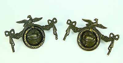 * Antique c.1800 Brass American FEDERAL Pair Drawer Pulls Handles w. Eagles