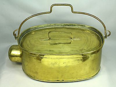* Antique 1700's/1800's French Lg Brass Covered Shank Cooking Pot Roasting