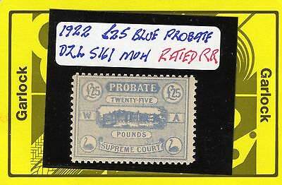Western Australia Revenue Stamp Duty Probate £25 slate blue  Dzl S161 no wmk muh