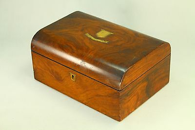 ! Antique Victorian Wood Veneered Dome Top Sewing Box  Accessories Marked Lock