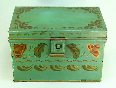 ! Antique Folk Art Hand Painted Toleware Tin Bread Box Kitchen Container