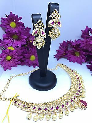 New Asian Indian Pakistani Bridal Party Necklace Set Ruby Pink Cz Jewellery
