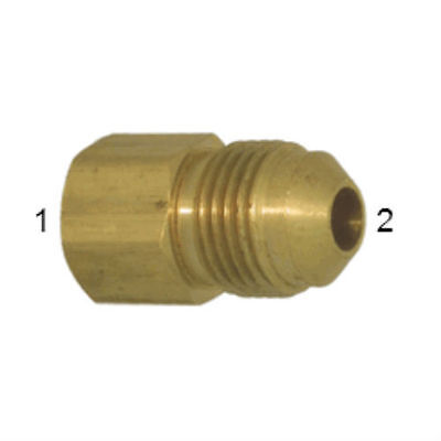 "SAE Brass 45° Flare Tube Fitting. 3/8"" Int. Flare x 1/4"" Ext. Flare Adapter."