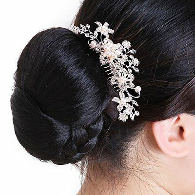 Girls Bridal Wedding Flower Diamand Crystal Rhinestones Pearls Hair Clip Comb