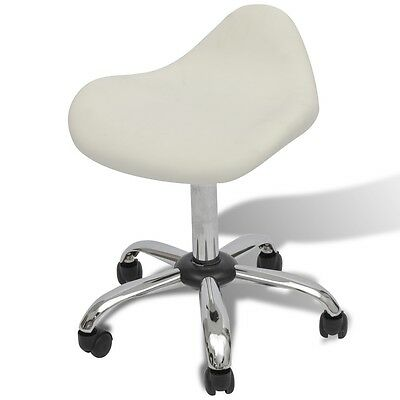 White Stool Hydraulic Gas Lift Salon Spa Bar Chair Barber Adjustable Rolling