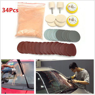 34Pcs Deep Scratch Remover Glass Polishing Kit 8 OZ Cerium Oxide and 2'' Wheel