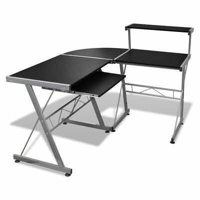 Black Office Computer Desk Corner Table Keyboard Tray Top Shelf Student Study