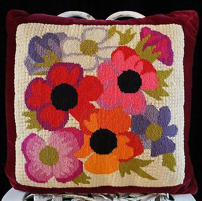 Vintage 60s Needlepoint Pillow Floral GARDEN Flower POWER Mid Century MCM MOD
