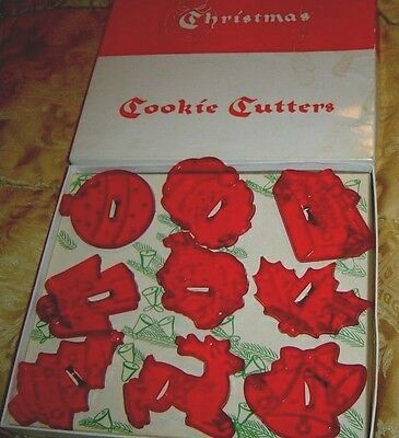 9 Vintage Hrm Christmas Cookie Cutters Red Plastic In Original Box Church Santa