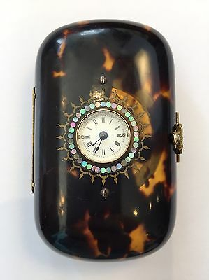Antique Tortoise Shell And Gold Purse Swiss Watch By Brevet Paris - C1850 - Gift