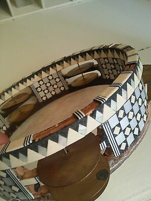 vintage tambourine Handcrafted mosaic inlay  wood natural skin