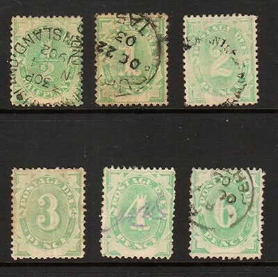 Australia Postage Due 1902 D1 to D6 Used