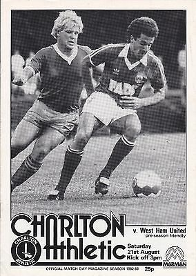 CHARLTON ATHLETIC v WEST HAM UNITED ~ 21 AUGUST 1982 ~ PRE SEASON FRIENDLY