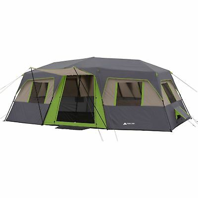 20x10 Ozark Trail 12 Person Green Instant Cabin 3 Room Hiking Camping 2 Doors HQ