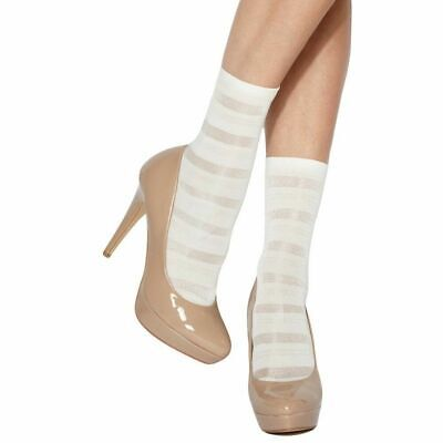 Charnos Stripe Ankle Highs. Colours: White, Navy. 90% Polyamide 10% Elastane