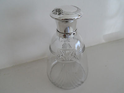Vintage Very Stylish German Glass Perfume Bottle By W M F Silver Plated Top